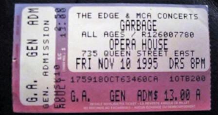 Garbage Toronto Show ticket stub